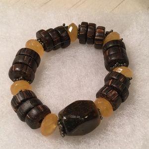 Silpada sterling, wood, smoky quartz stretch brace